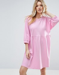 Asos Cotton Smock Dress With Elastic Cuff Detail Baby Pink