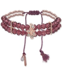 Lonna And Lilly Rose Gold Tone Pave Tassel Purple Beaded Stretch Bracelet