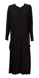 Feverfish Pleated Pocked Tunic Dress Black