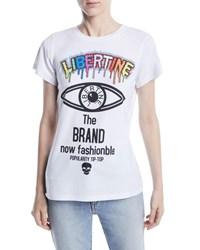 Libertine Brand Now Fashionable Photo Graphic Print Crewneck Tee White