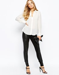 Y.A.S Asky Comb Leather Leggings Black