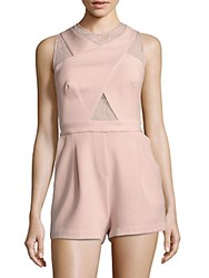 Bcbgmaxazria Sleeveless Lace Short Jumpsuit Dusty Pink