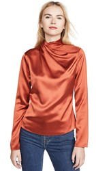 Brandon Maxwell Draped Neck Silk Blouse Rust
