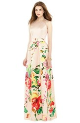 Women's Alfred Sung Watercolor Floral Print Sleeveless Sateen A Line Gown