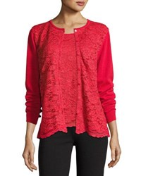 Joan Vass Lace Inset Button Front Long Sleeve Cardigan Classic Red