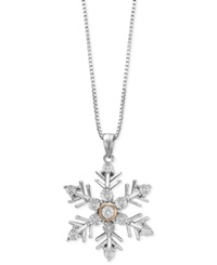 Macy's Diamond Accent Snowflake Pendant Necklace In Sterling Silver And 14K Rose Gold