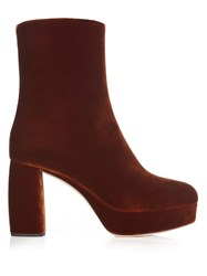 Miu Miu Velvet Platform Ankle Boots Dark Orange