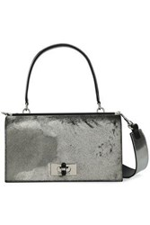 Giorgio Armani Woman Metallic Calf Hair Shoulder Bag Gunmetal