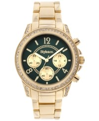 Styleandco. Style And Co. Women's Chronograph Crystal Accent Gold Tone Bracelet Watch 40Mm Sy004ge Only At Macy's