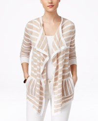 G.H. Bass And Co. Striped Open Front Cardigan Sandy Combo