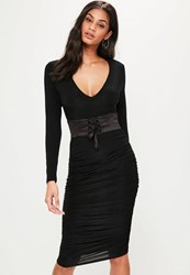 Missguided Black Plunge Corset Belt Ruched Tie Side Dress