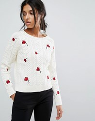 Gestuz Knitted Pullover Jumper With Embroidery Poppies Multi