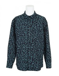 Julien David Waves Shirt Indigo Green