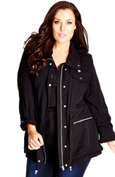 City Chic Lightweight Drawstring Waist Jacket Plus Size Black