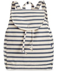 Baggu Cotton Drawstring Backpack Sailor Stripe
