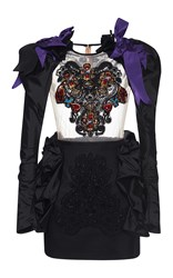 Dsquared2 Embroidered Sheer Long Sleeve Dress Black