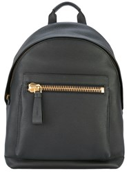 Tom Ford Zip Detail Backpack Men Cotton Calf Leather Polyester Brass One Size Black