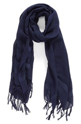 Women's Caslon Linen Blend Scarf Blue Navy Peacoat