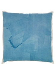 Summerill And Bishop Hand Painted Linen Cushion Light Blue