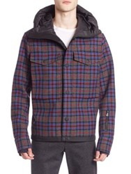 Moncler Plaid Wool Blend Hooded Jacket Multi