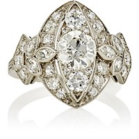 Antique Jewelry Women's White Diamond And Platinum Ring No Color