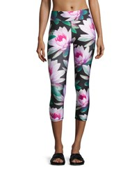 Terez Loving Lotus Tall Band Capri Leggings Multipattern Multi Pattern
