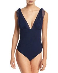 Shan Mirage Plunging One Piece Swimsuit With Mesh Blue
