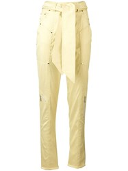 Talbot Runhof Belted Tapered Trousers Yellow