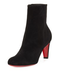 Christian Louboutin Top 70Mm Suede Red Sole Bootie Black