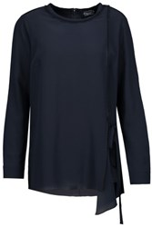 Magaschoni Fringed Washed Silk Blouse Midnight Blue