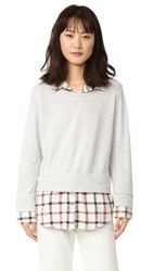 Monrow Double Layer Flannel Plaid Sweatshirt Ivory Plaid