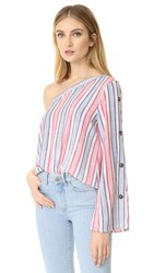 Re Named One Shoulder Blouse White Red
