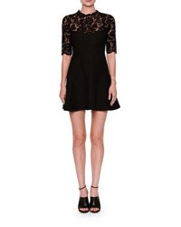 Valentino Half Sleeve Lace Fit And Flare Dress Black