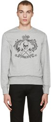 Alexander Mcqueen Grey Skull And Crown Pullover