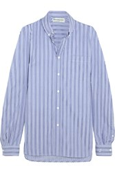 Balenciaga Striped Cotton Poplin Shirt Blue