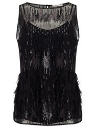 Jacques Vert Petite Sequin Feather Top Black
