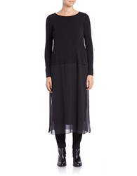 Eileen Fisher Plus Silk Chiffon Ballerina Neck Dress Black