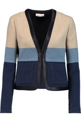 Tory Burch Leather Trimmed Striped Knitted Jacket Navy