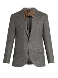 Brunello Cucinelli Notch Lapel Wool And Silk Blend Blazer Charcoal