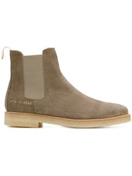 Common Projects Chelsea Boots Women Leather Suede Rubber 39 Brown