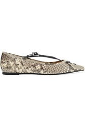 Michael Michael Kors Roslyn Snake Effect Leather Point Toe Flats Snake Print