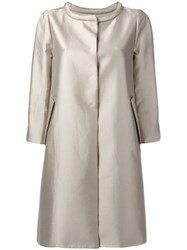 Armani Collezioni Metallic Concealed Placket Coat Nude Neutrals