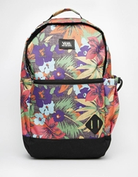 Vans Old Skool Ii Logo Backpack In Floral Print Black