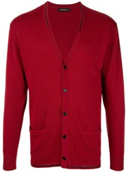 Loveless Long Sleeve Fitted Cardigan Red
