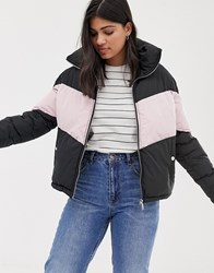 Qed London Padded Coat With Chevron Contrast Stripe Black