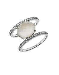 Judith Jack Mother Of Pearl And Crystal Stacked Ring Silver
