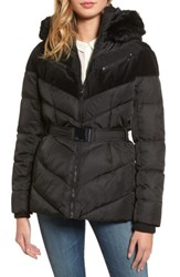 Vince Camuto Women's Belted Down And Feather Fill Coat With Faux Fur Trim Hood Black