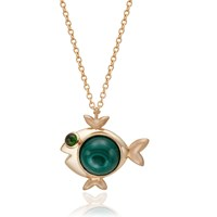 S H Koh Magical Fish Pendant Jasper And Chrome Diopside Gold