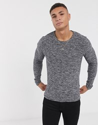 Solid Twisted Yarn Jumper In Grey