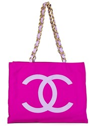 Chanel Vintage Logo Shopper Tote Pink And Purple